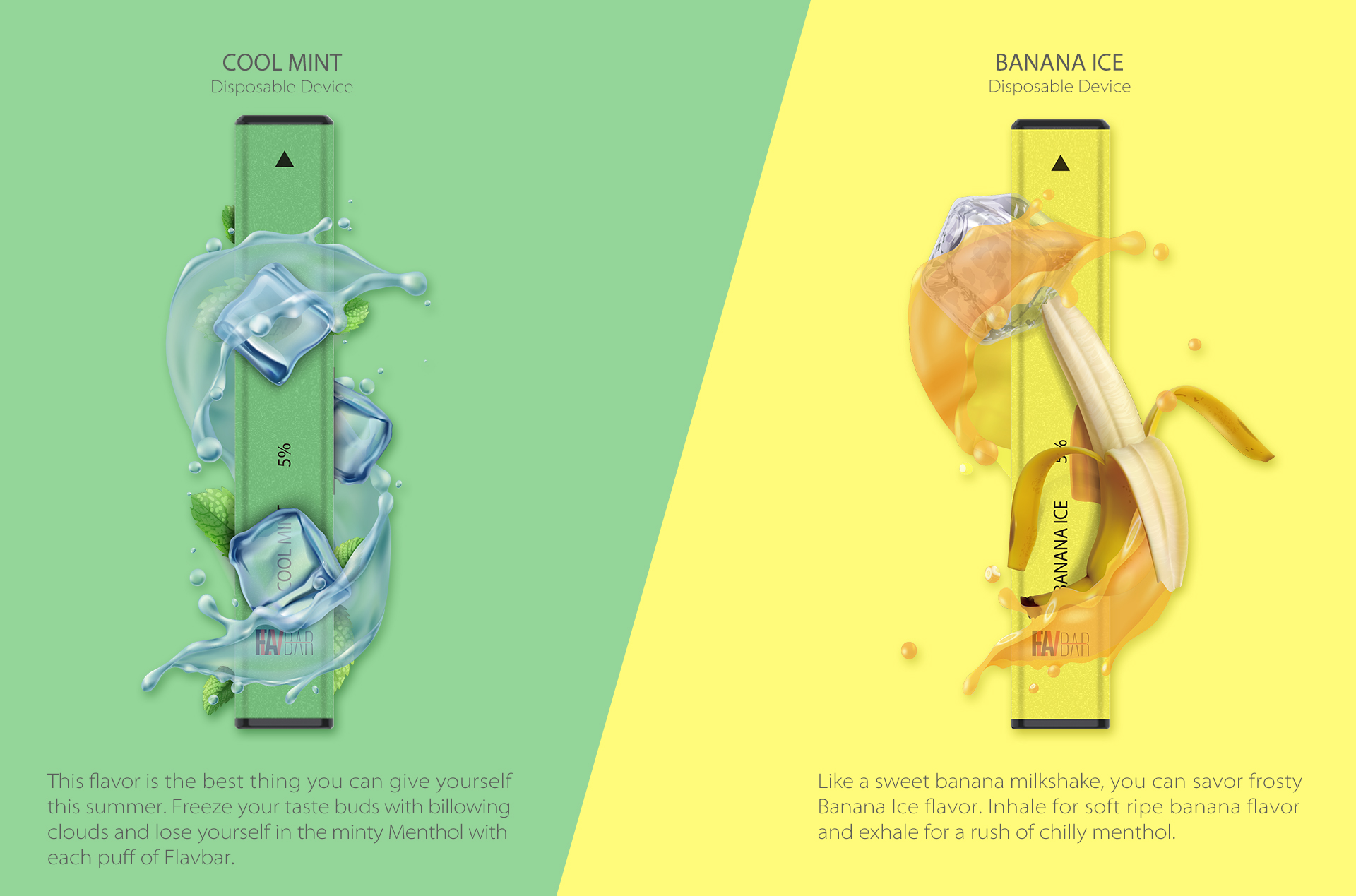 Flavbar v1 pod disposable device cool mint and banana ice flavor.