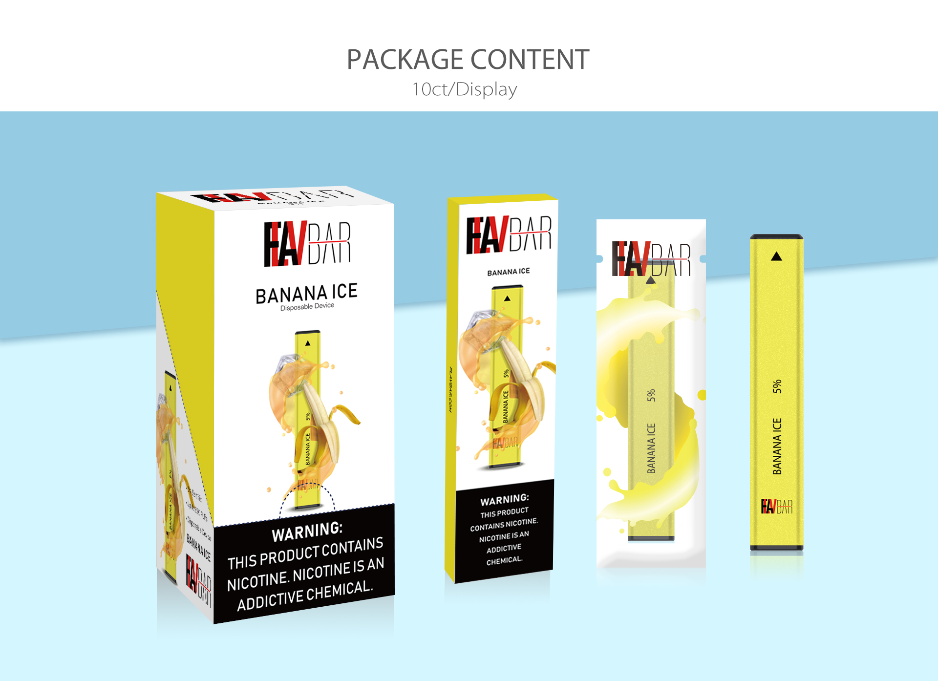 Flavbar v1 pod disposable device package content.