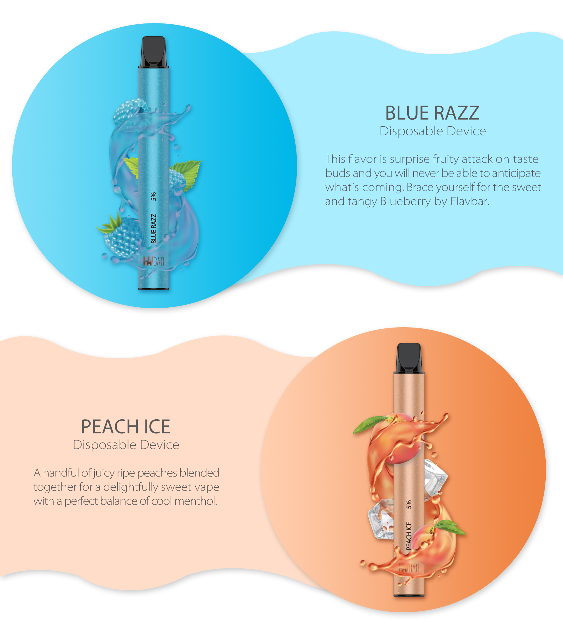 FLAVBAR v2 disposable device blue razz and peach ice flavor.