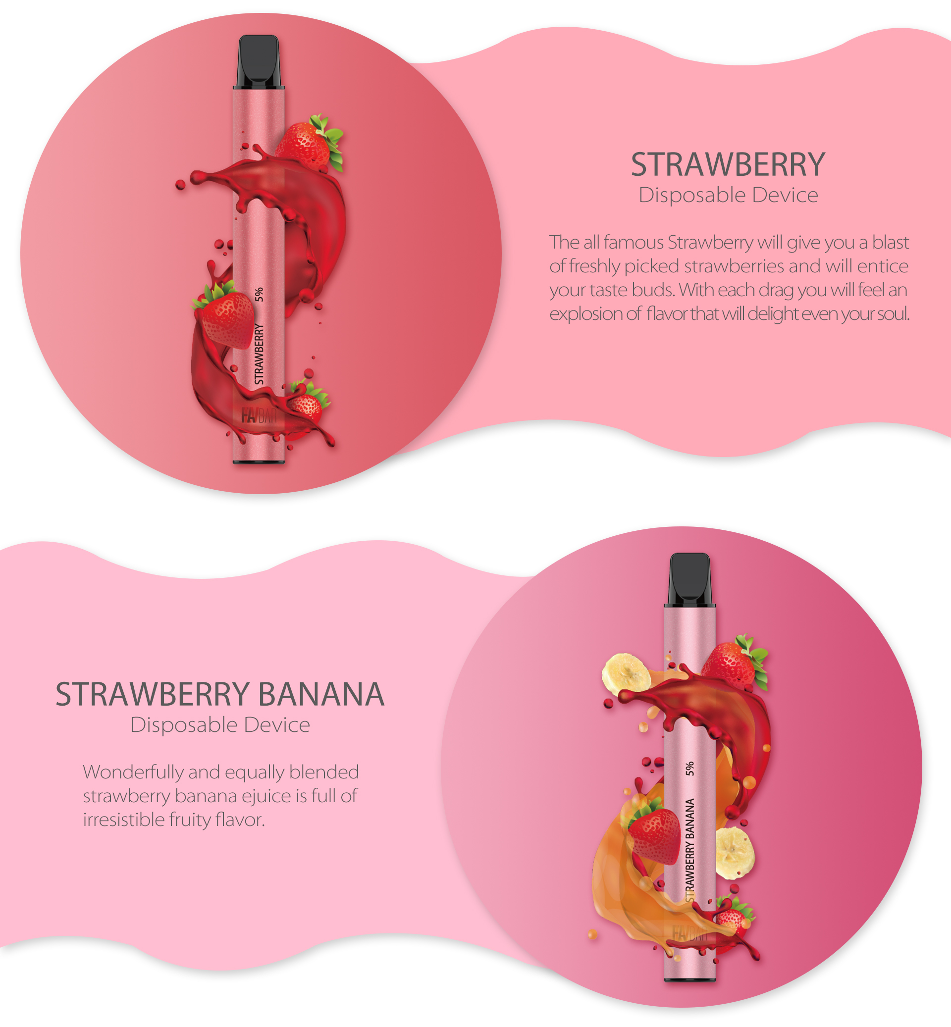 FLAVBAR v2 disposable device strawberry flavor and strawberry banana flavor.