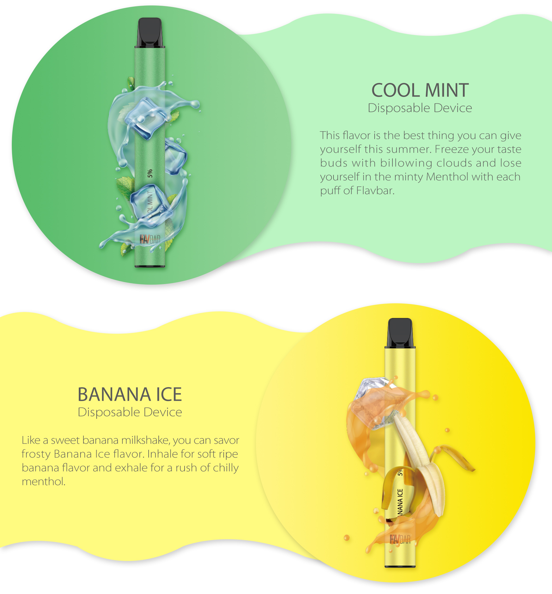 FLAVBAR v2 disposable device cool mint and banana ice flavor.