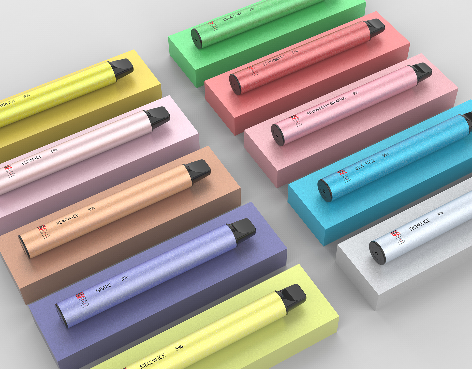 FLAVBAR v2 disposable device comes with 10 flavors.