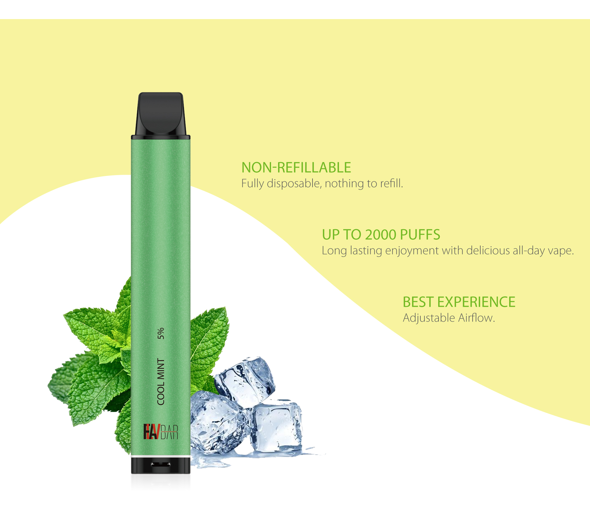 Flavbar v3 disposable vape device comes with adjustable airflow function.