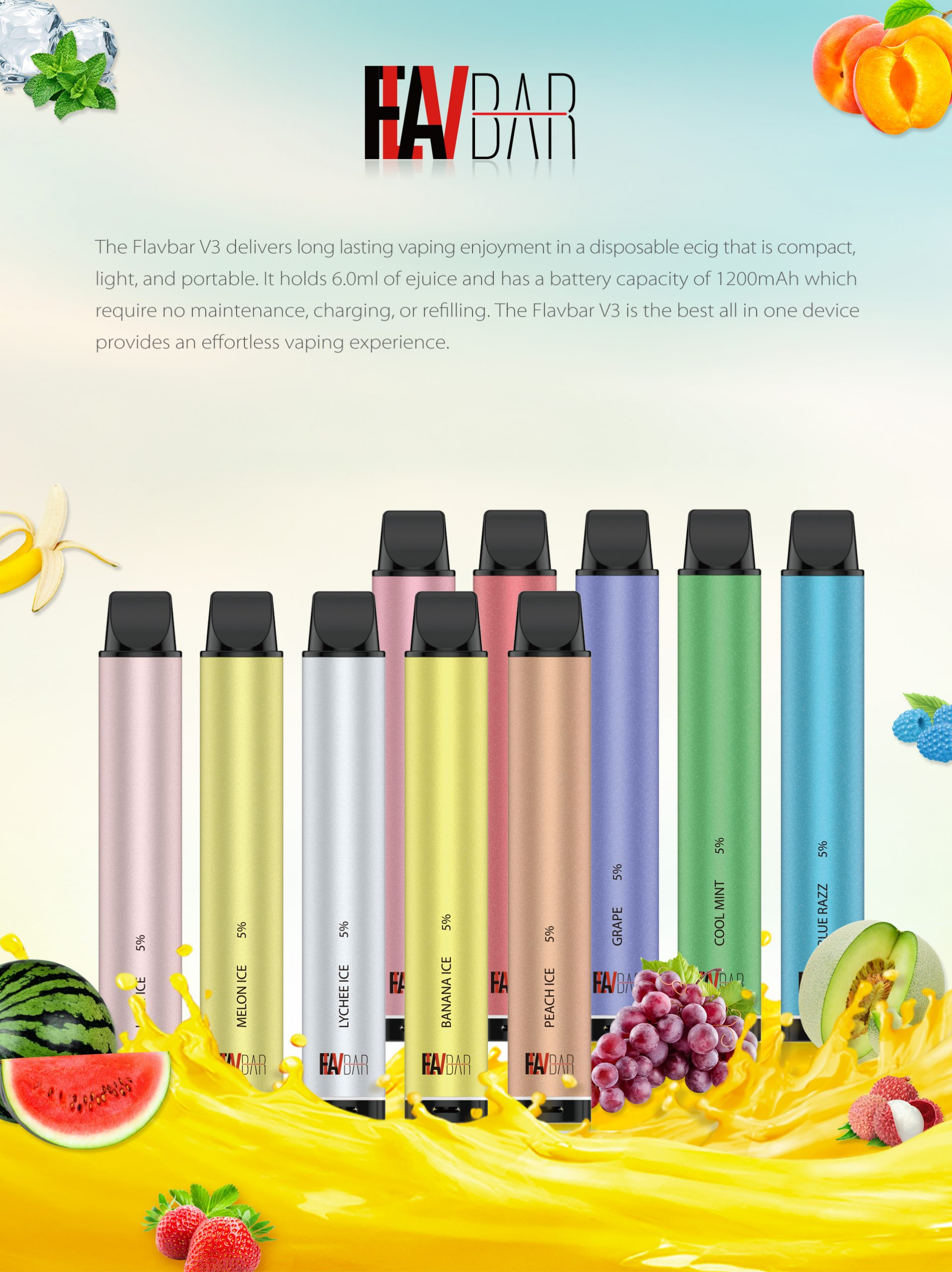 The Flavbar V3 delivers long lasting vaping enjoyment in a disposable ecig that is compact, light, and portable.