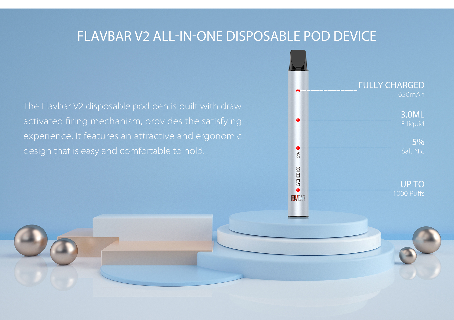 FLAVBAR v2 all-in-one disposable device.